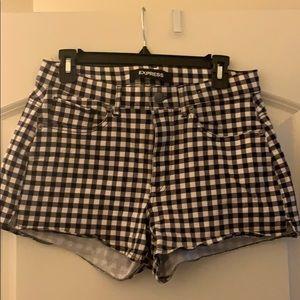 Express high rise gingham shorts